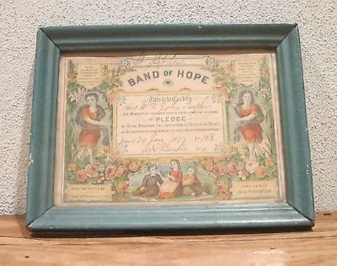 1800s Temperance Band of Hope Certificate - Yesteryear Essentials
