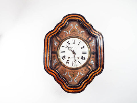 Antique French Wooden Mother of Pearl Inlaid Wall Clock