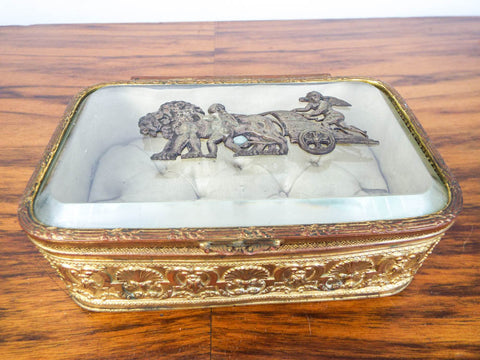 Louis XVI Gold Gilt Ormolu Beveled Glass Casket