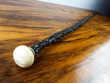 Antique 19th C Blackthorn Walking Cane With Bone Handle