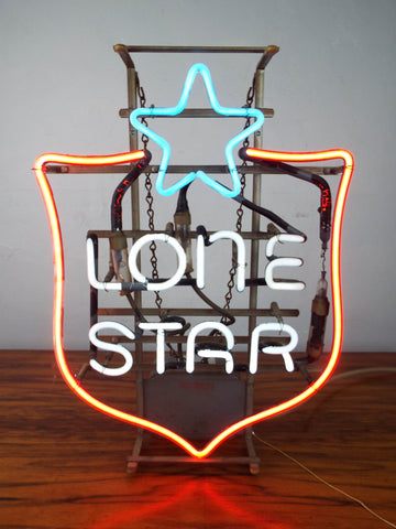 Vintage 1970s Advertising Sign Lone Star Beer Working Neon Light