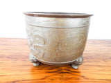 Vintage French Decorative Brass Planter Chinese Style Dragon Three Leg Pot Cover