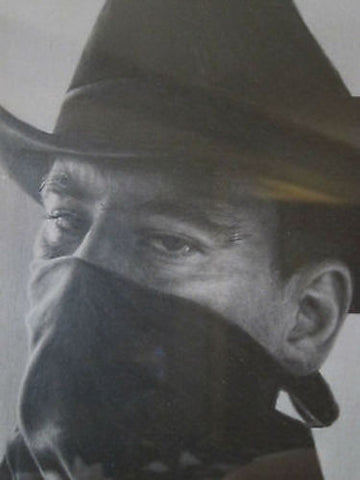 Realistic Pencil Drawing of Cowboy Figure by Seamus Conley - Yesteryear Essentials  - 1