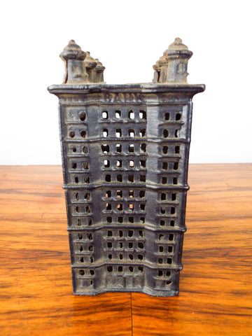 Antique Cast Iron Bank High Rise Tiered Building Piggy Money Box A C Williams