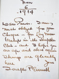 Antique 1910s Hand Written Letter by Joseph Pennell