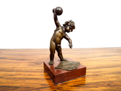 Antique Bronze Eugene Provost Cupid Weightlifting Sculpture