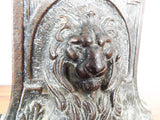 Vintage Pair of Figural Lion Bookends 1920s Metal Lions Cat Statue Book Ends