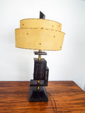 Retro Wooden Mid Century Table Lamp with Western Hide Shade