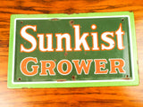 Original Vintage 1940s Enamel Sunkist Growers Advertising Sign Retro Yard Decor