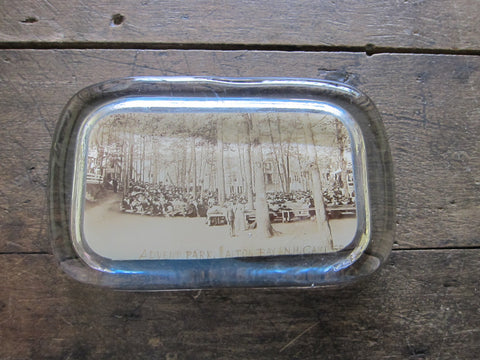 Antique Photo Glass Paperweight Tourist Gift