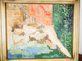 Abstract Divisionism Oil On Canvas Painting Reclining Nude