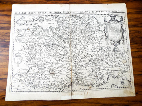 Original Antique 16th C Map Of France ~ 1573 Galliae Regni Potentiss Ortelius