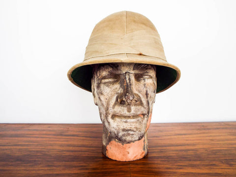 Antique British Military WW1 Khaki Pith Helmet