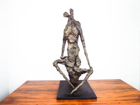 Vintage Gerard Koch Abstract Seated Bronze Sculpture German French Sculptor 1961