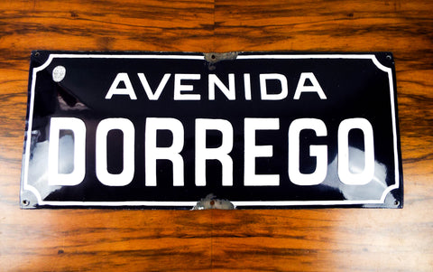 Vintage 1920s Blue Bubble Enamel Street Sign ~ Dorrego Ave