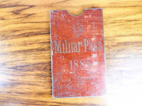 Antique German 1885 Metal Military Pass Etui Wallet