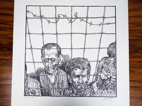 Vintage Signed Ron Cobb Print Ltd Ed Underground Free Press Cartoon Prisoners