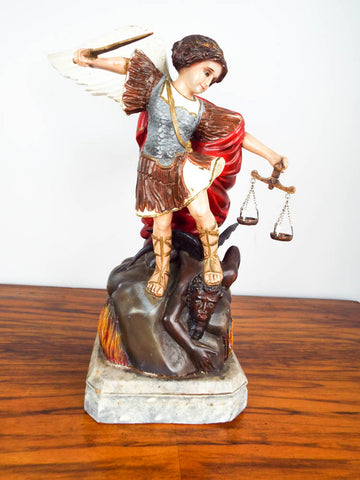 Vintage Religious Saint Michael Wooden Sculpture Archangel Figurine Devil Satan