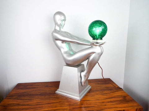 Art Deco Style Silver Nude Female Table Lamp