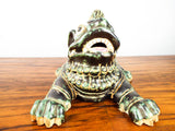 Vintage Glazed Terracotta Foo Dog Chinese Temple Guardian Dog Signed Pottery