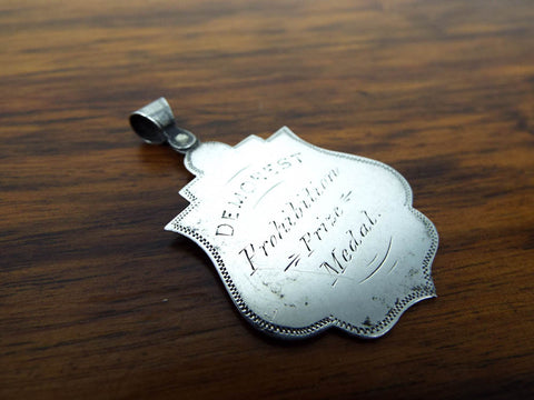 Antique Silver Religious 1886 Temperance Prohibition Medallion Medal Pendant