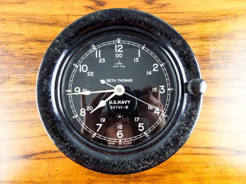 Vintage Bakelite Seth Thomas WW2 Era Deck Clock US Navy Working Military Clock