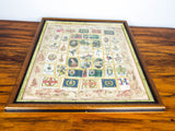Antique 1910s Framed Military Heraldic Silk Textile Art