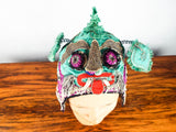 Antique Asian Silk Childs Hat Dragon Festival Costume Embroidered Nursery Decor