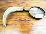 Antique Victorian Rams Horn Magnifying Glass Brass Magnifier Desk Accessory FDG