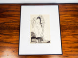 Vintage Original Signed Jose Clement Orozco Ink Painting Female Mexican Muralist