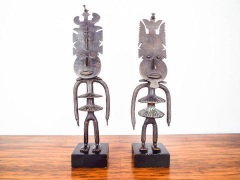 Vintage Patinated Bronze African Sculptures