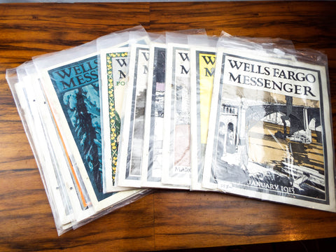 Antique Set 10 Wells Fargo Messenger Magazines WW1 Bank Memorabilia 1913 14 1915