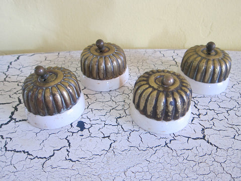 Set of 4 Victorian Porcelain & Brass Light Switches - Yesteryear Essentials  - 1