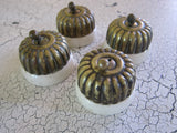 Set of 4 Victorian Porcelain & Brass Light Switches - Yesteryear Essentials  - 7