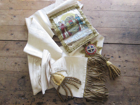Antique Temperance White and Gold Ceremonial Sash by George Tutill - Yesteryear Essentials  - 1