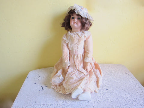 Antique 19th C German Porcelain Doll by Gebruder Kuhnlenz - Yesteryear Essentials  - 1