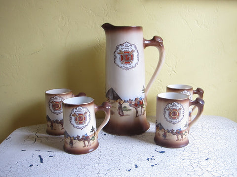 Antique Leisy Ceramic Beer Pitcher & 4 Mugs - Yesteryear Essentials  - 1