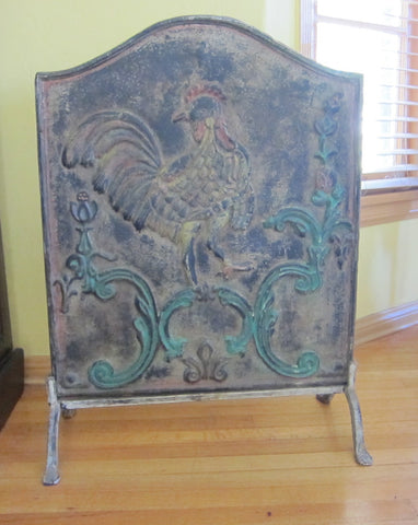 Antique Cast Iron Fireback Plate with Cockerel - Yesteryear Essentials  - 1
