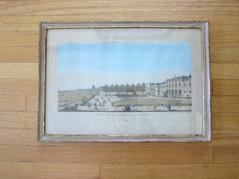 "Antique 18th Century Optical Mondhare Print ""Vue Perspective le Palais Royale de Somerset"" - Yesteryear Essentials  - 1"
