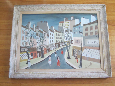 Whimsical Art Oil Painting of French Village Scene by Charles de Montfort (1901-?) - Yesteryear Essentials  - 1