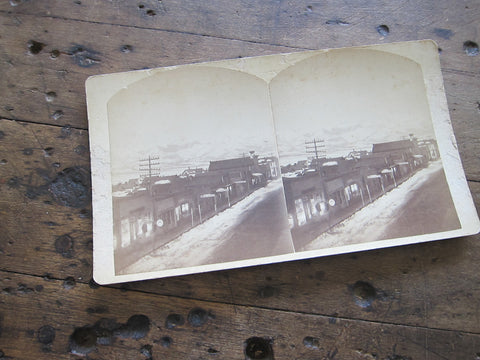 Stereoscope Card by Charles Emery 1880, Moonlight View Main St Silver Cliff Colorado - Yesteryear Essentials  - 1