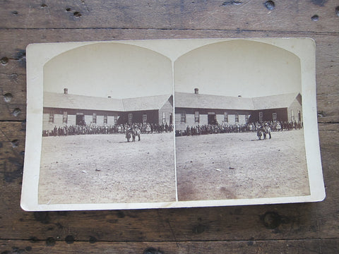 Stereoscope Card by Charles Emery 1880's ,Public School Silver Cliff Colorado - Yesteryear Essentials  - 1