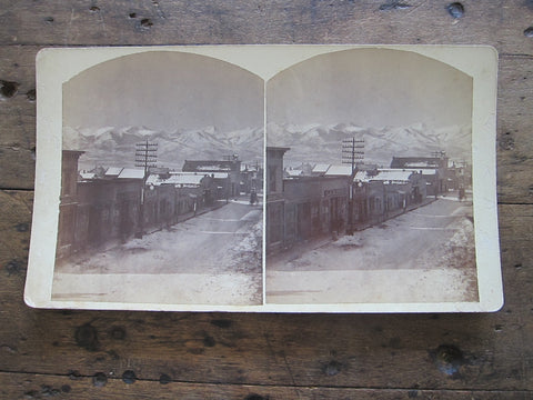Stereoscope Card by Charles Emery 1880, Evening View Main St Silver Cliff Colorado - Yesteryear Essentials  - 1