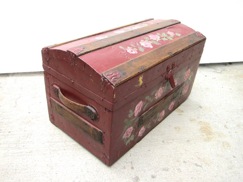 Antique Hand Painted Red Wooden Trunk - Yesteryear Essentials  - 1