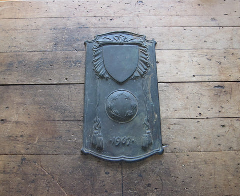 Antique Bronze Decorative Military Plaque 1907 - Yesteryear Essentials  - 1