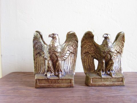 Vintage Gold Eagle Statue Bookends by PMC Craftsman Company - Yesteryear Essentials  - 1