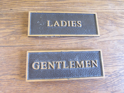 Vintage Brass Restroom Signs for Ladies & Gentlemen - Yesteryear Essentials  - 1