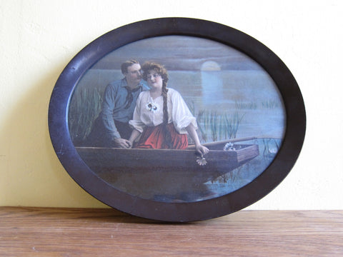 Vintage Oval 1910's Print, Couple in a Boat Scene - Yesteryear Essentials  - 1