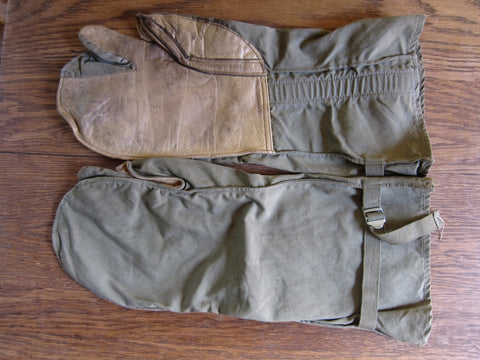 WW2 Memorabilia Canvas Leather Machine Gunners Gloves - Yesteryear Essentials  - 1