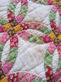 Vintage Handmade Patchwork Wedding Ring Quilt - Yesteryear Essentials  - 7